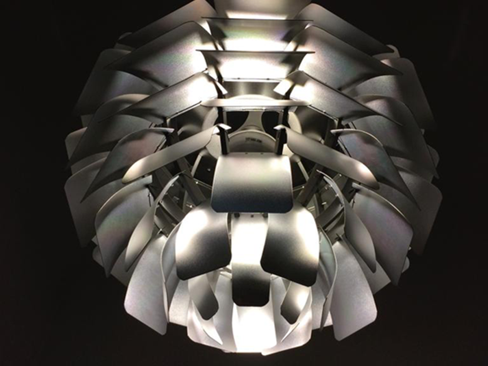 Aluminium pendant designed by Paul Henningsen