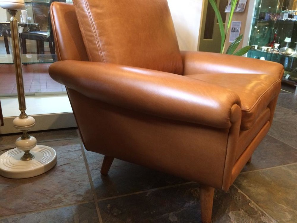 1960s Aage Christensen restored armchair in leather. Denmark.