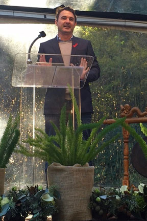 Speaking on behalf of Project Inform at the AIDS Memorial Grove in San Francisco's Golden Gate Park for World AIDS Day.