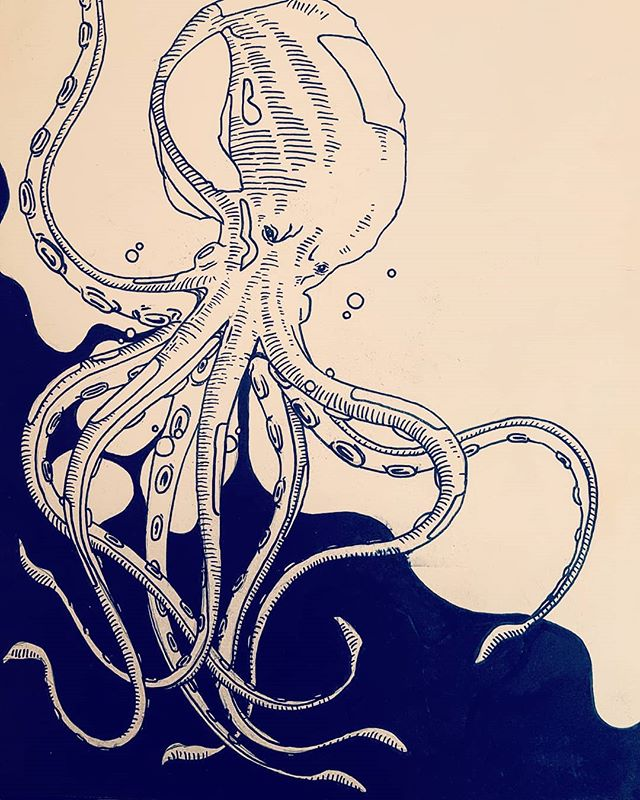 yperoho octopus 🦑 #kimolos . . . . . . . #pen #sketchbook  #illustration #water #instaart #storytelling #artistoninstagram #artist #illustration #black #ink #octopus #summer #yperoxa #sureal #illustrationartist #scrapdog #1235