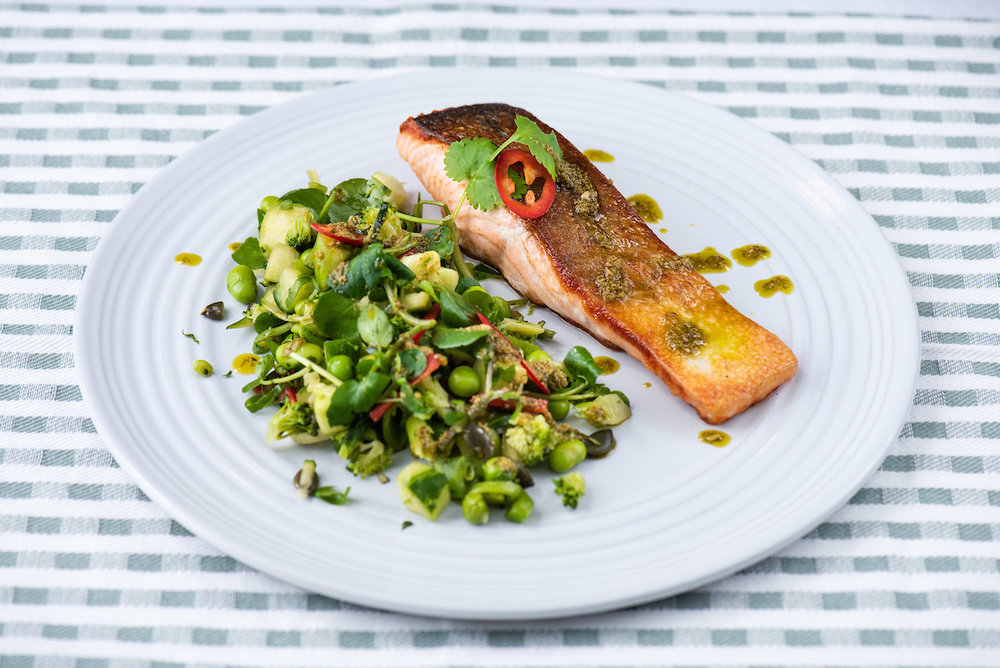 Salmon with super green salad