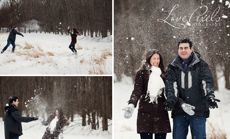 winter fun engagement pictures