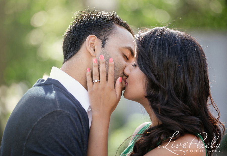 """couple kissing romantic engagement photo in unionville"""