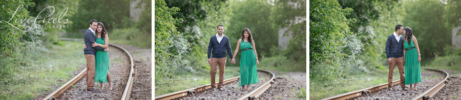 """engagement photo on the railroad tracks"""
