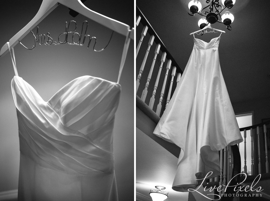 """wedding dress on a personalized hanger"""