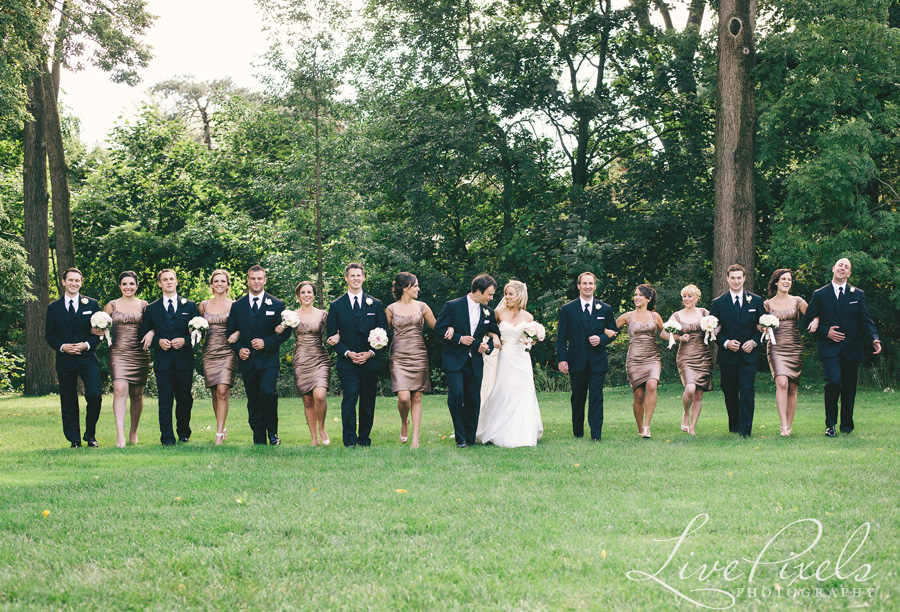 """fun bridal party photos Gariloch gardens in Oakville"""