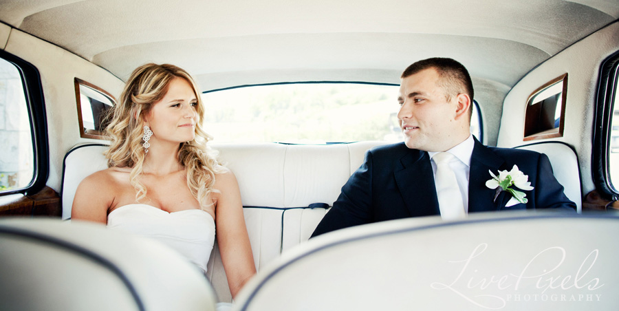 """bride and groom in a vintage car"""