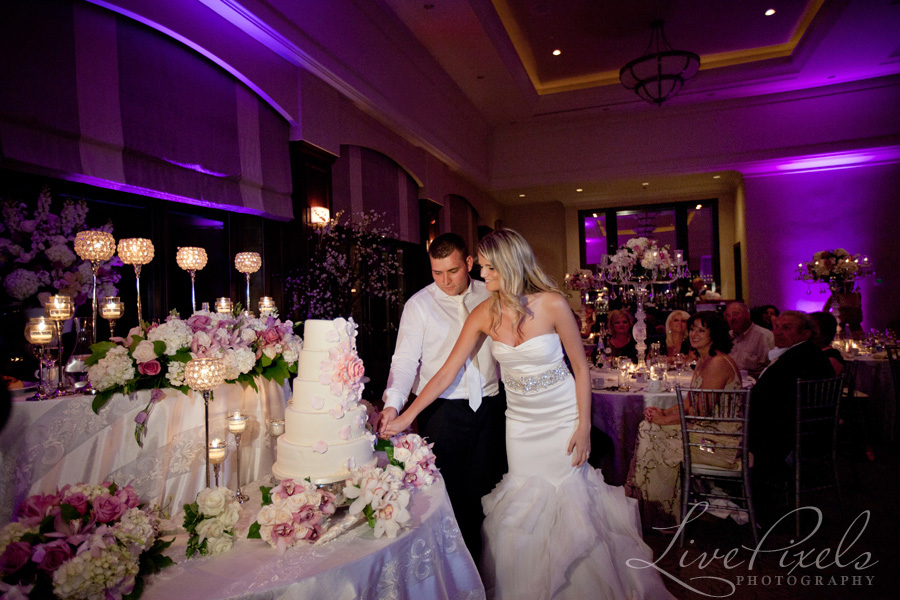 """bride and groom cutting wedding cake"""