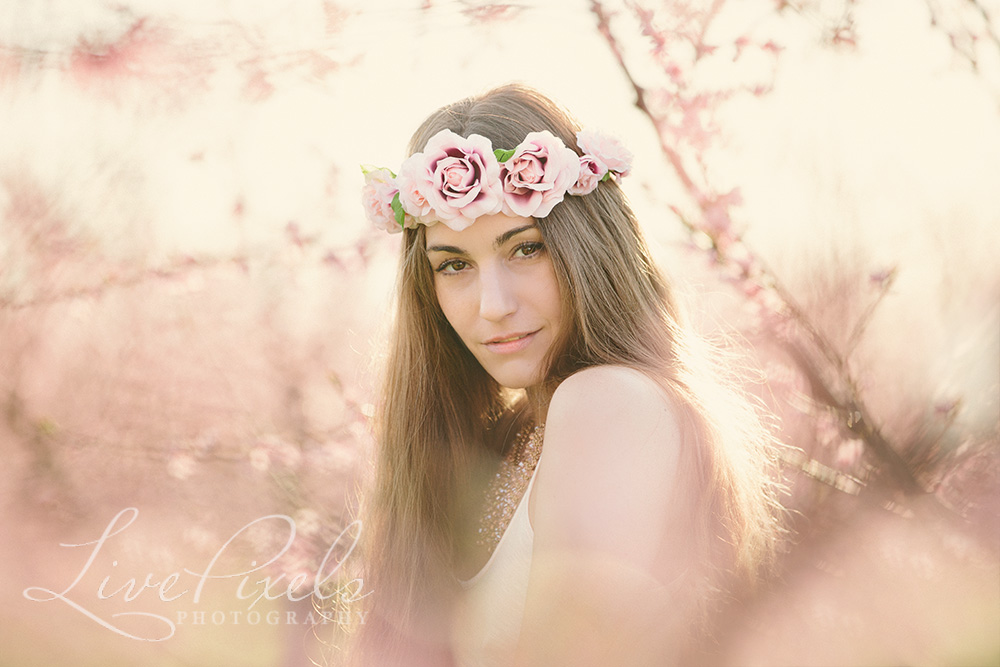 Sexy beauty portraits of a young woman wearing floral crown