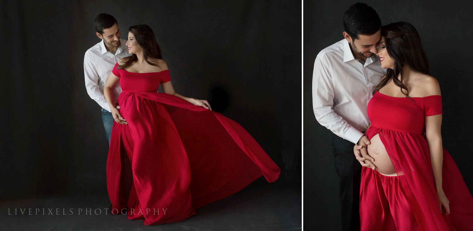 Maternity Portraits in red flowy dress - Livepixels Photography, Toronto / livepixelsphotography.com