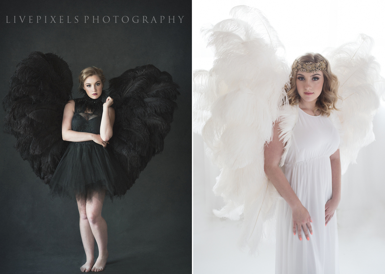 Creative Portrait with black and white ostrich feather wings by Toronto Portrait Photographer - Livepixels Photography, Toronto / livepixelsphotography.com