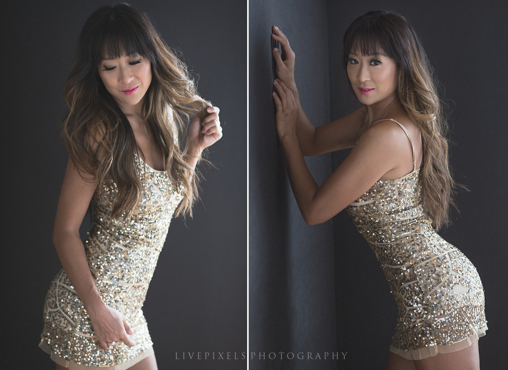 Sexy Portrait of a Girl in a Golden Dress, beauty portrait, glamour portrait in Toronto - Livepixels Photography, Toronto / livepixelsphotography.com