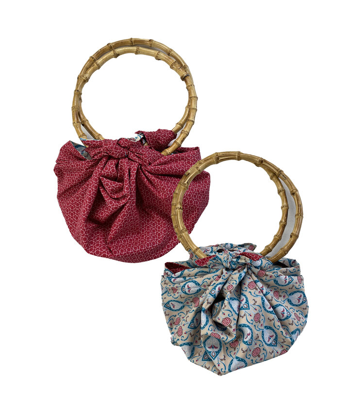 Teal & Cherry Double Sided Reversible Furoshiki Bamboo Bag from FabRap