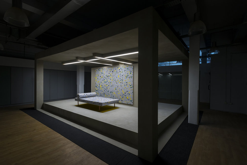 Pavilion,  2014 Faux concrete render, wood, acrylic on canvas, replica Mies Van Der Rohe daybed, Perspex, fluorescent lights  600 x 400 x 260 cm