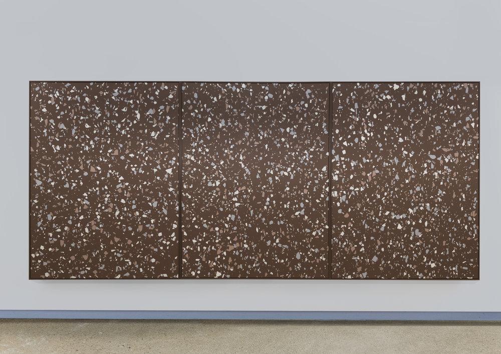 Lobby Part II , 2015 Terrazzo rubber, acrylic on canvas 200 x 450 cm