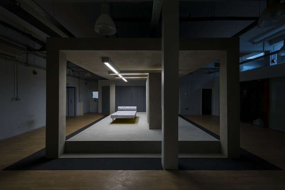 Pavilion,  2014 Faux concrete render, acrylic on canvas, replica Mies Van Der Rohe daybed 600 x 400 x 260 cm