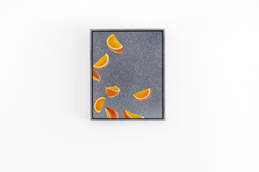 Falling Fruit,  2017 Oil and acrylic on board 3 parts: Framed 23 x 30 cm