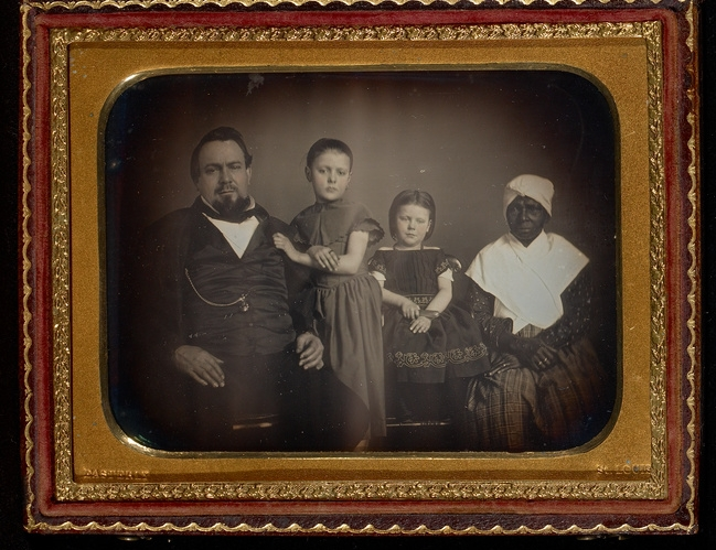 Thomas Easterly, Family with Their Slave Nurse ca. 1850. via J. Paul Getty Museum.  Often times, elderly slave women would care for the Master's children, especially when the Slave Mistress had died. Likely, this slave nurse also birthed these white children.