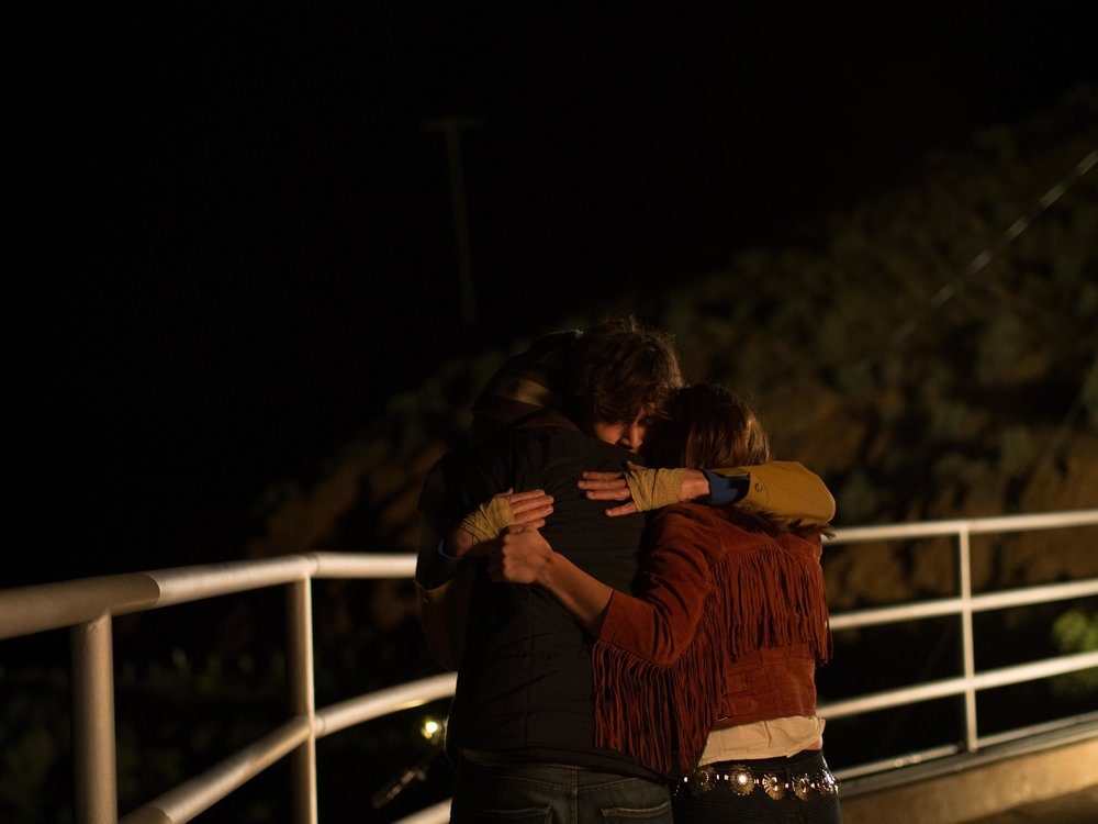 Jon (Jake Borelli) Cole (Jacob Grodnik) and Michelle (Aley Underwood) Hugging After They Convince Cole Not To Jump Off The Bridge.jpg