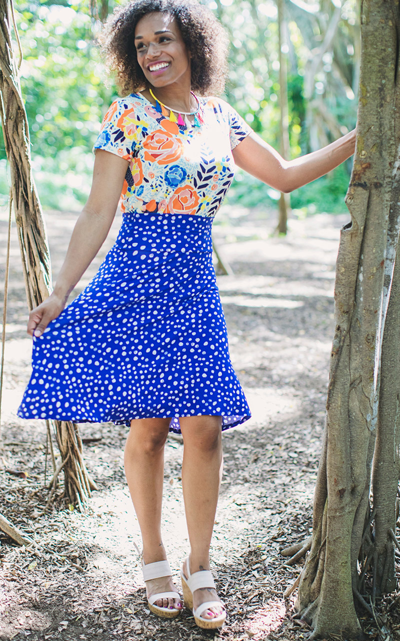 LuLaRoe-Azure-Mid-Length-A-Line-Skit-With-Yoga-Band-bright-blue-and-dots.jpg