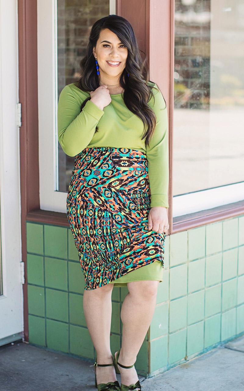 LuLaRoe-Cassie-Mid-Length-Pencil-Skirt-green-and-orange-pattern.jpg