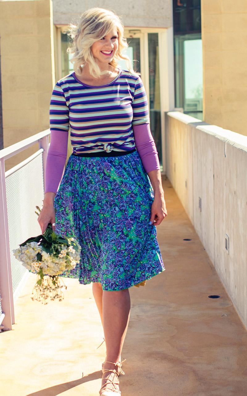 LuLaRoe-Jill-Pleated-mid-length-elastic-waistband-green-and-purple-floral.jpg