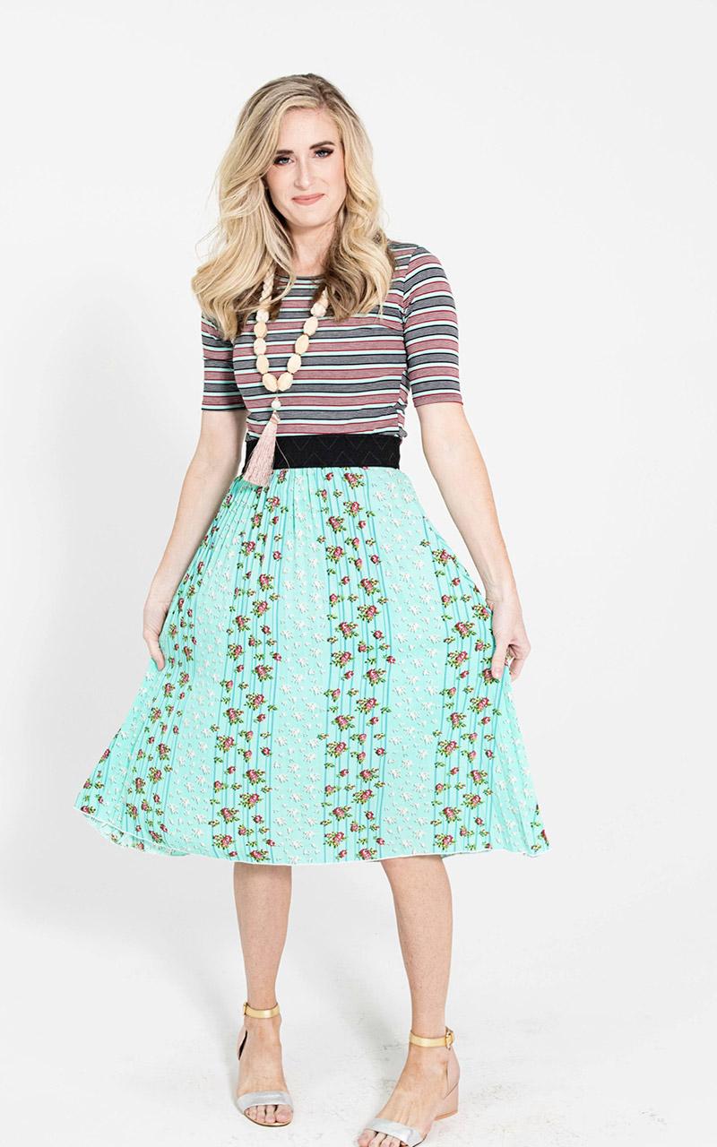 LuLaRoe-Jill-Pleated-mid-length-elastic-waistband-light-green-floral.jpg