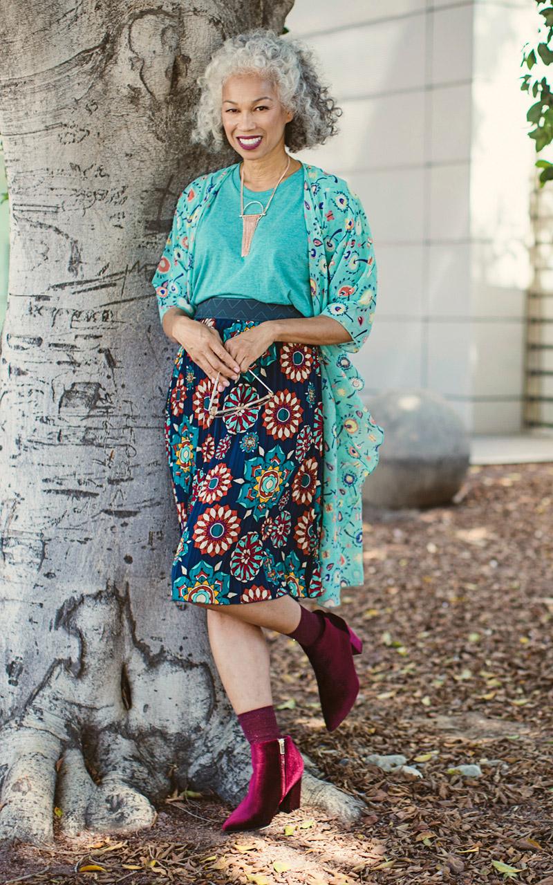 LuLaRoe-Jill-Pleated-mid-length-elastic-waistband-green-florals.jpg