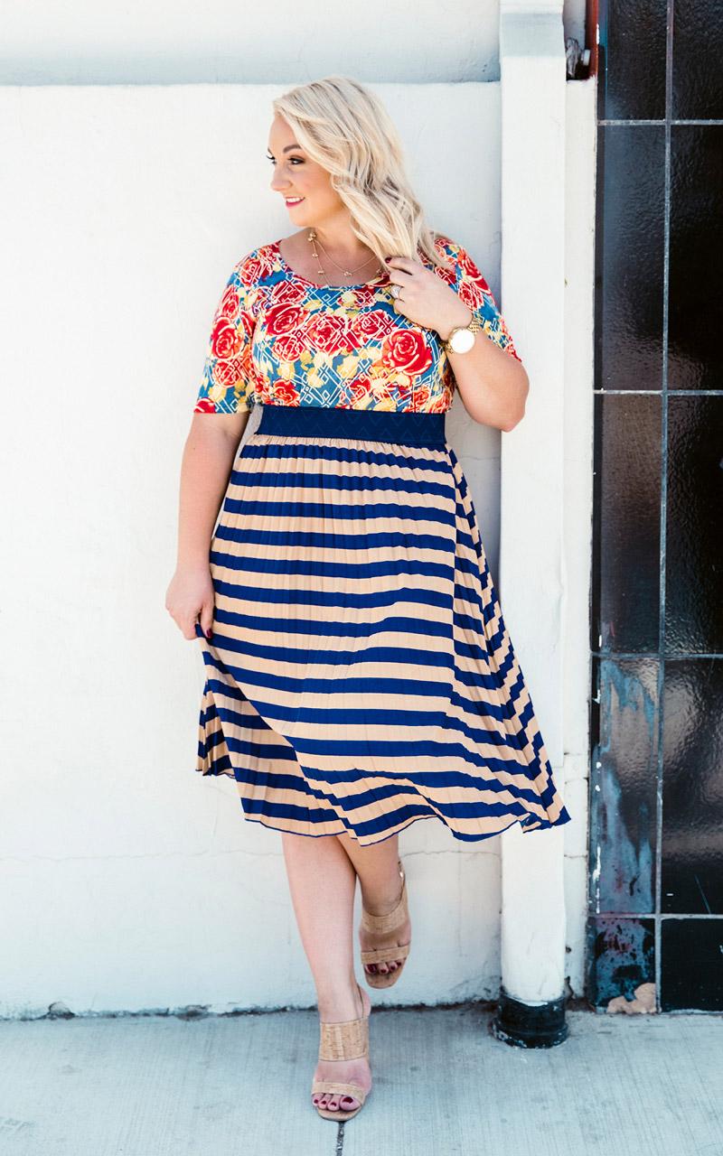 LuLaRoe-Jill-Pleated-mid-length-elastic-waistband-navy-and-beige.jpg