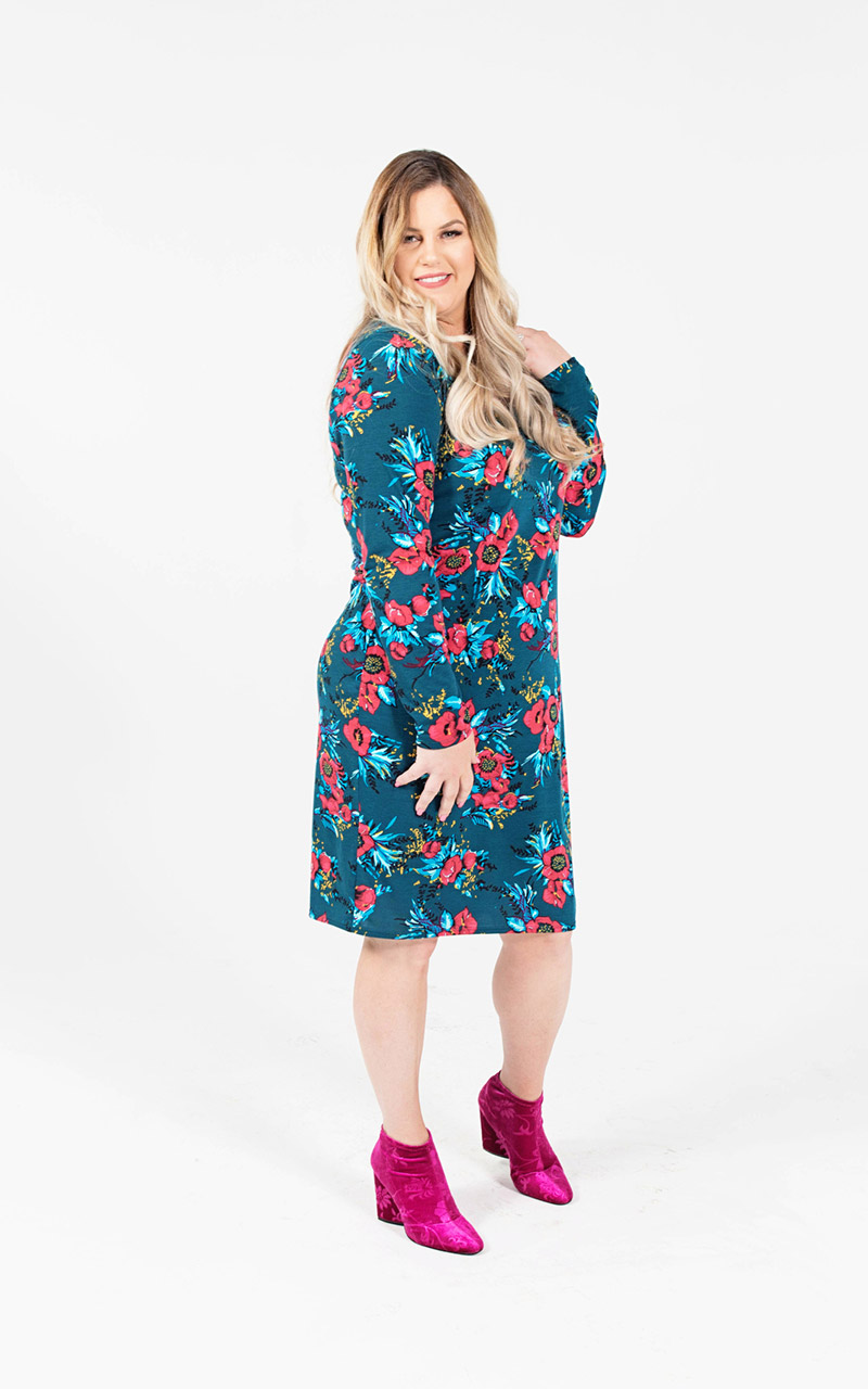 Lularoe-Debbie-Mid-Length-Long-Sleeve-Fitted-Sheath-Dress-green-and-red-flowers-2.jpg