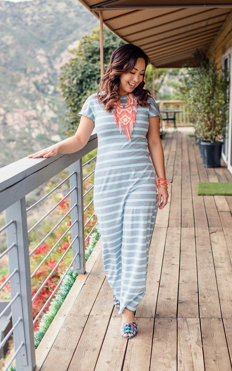 LuLaRoe-Maria-Maxi-T-shirt-Dress-gray-and-mint-stripes-2.jpg