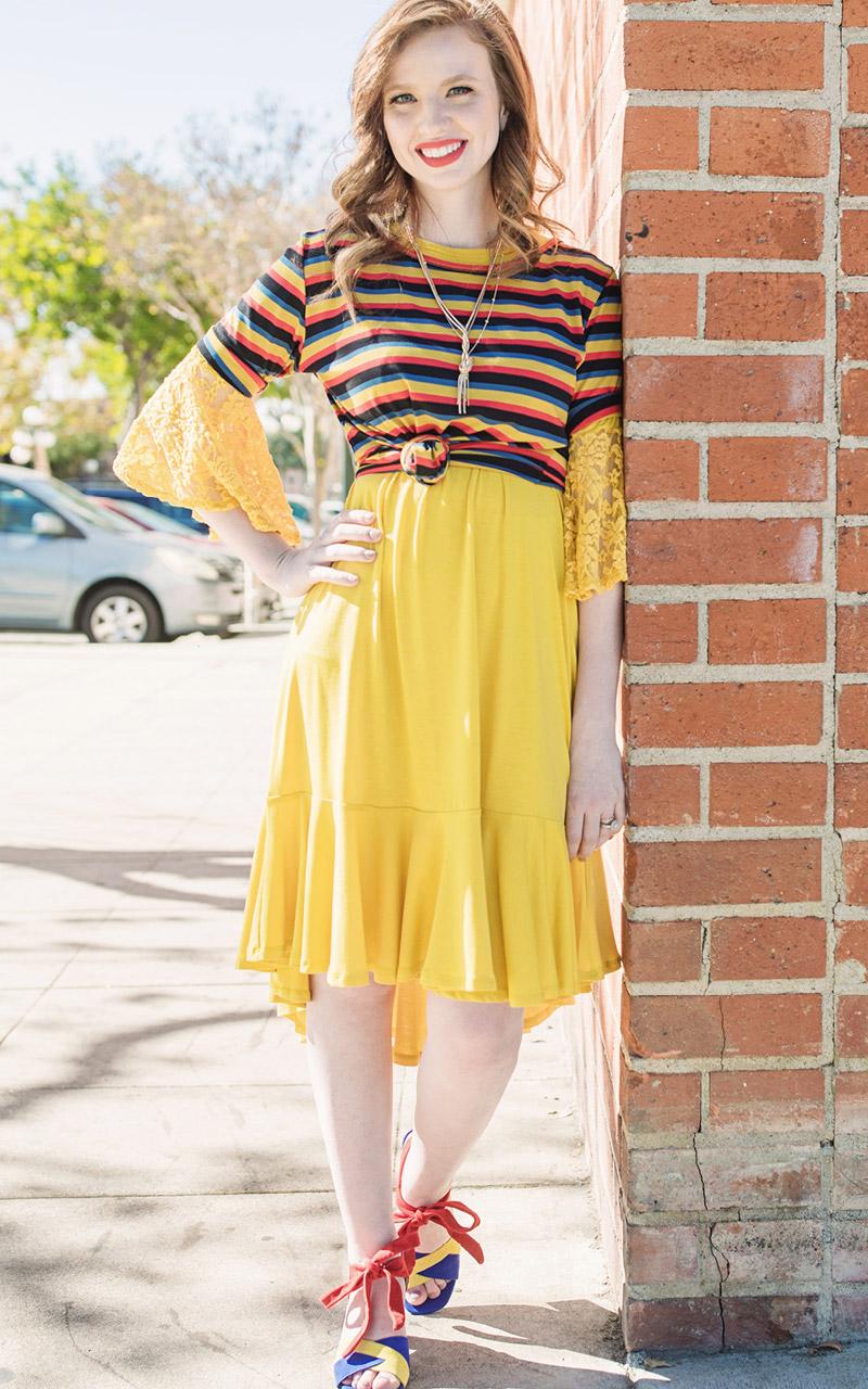 1b0ec8633eb LuLaRoe-Maurine-Bell-Sleeves-Flounce-Dress-yellow-lace-