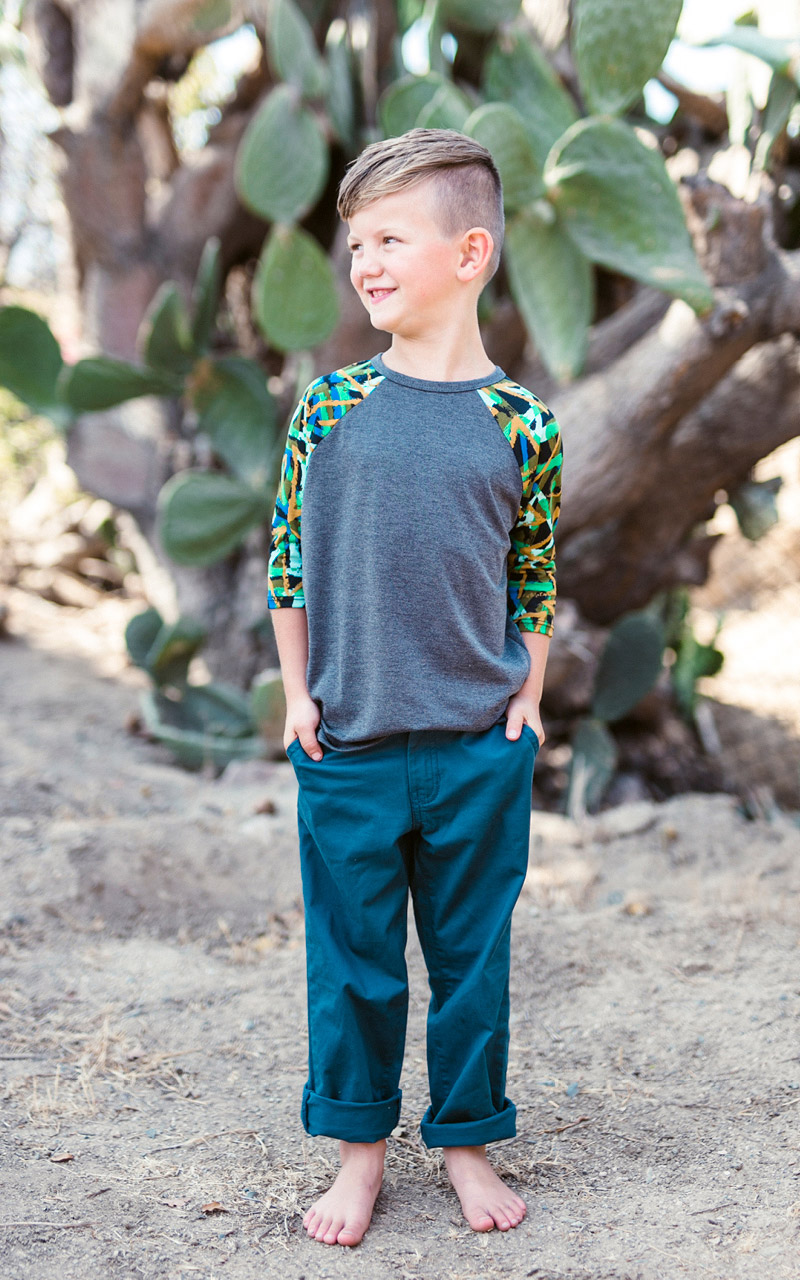 LuLaRoe-Kids-Sloan-Baseball-T-Shirt-gray-green-pattern-sleeves.jpg