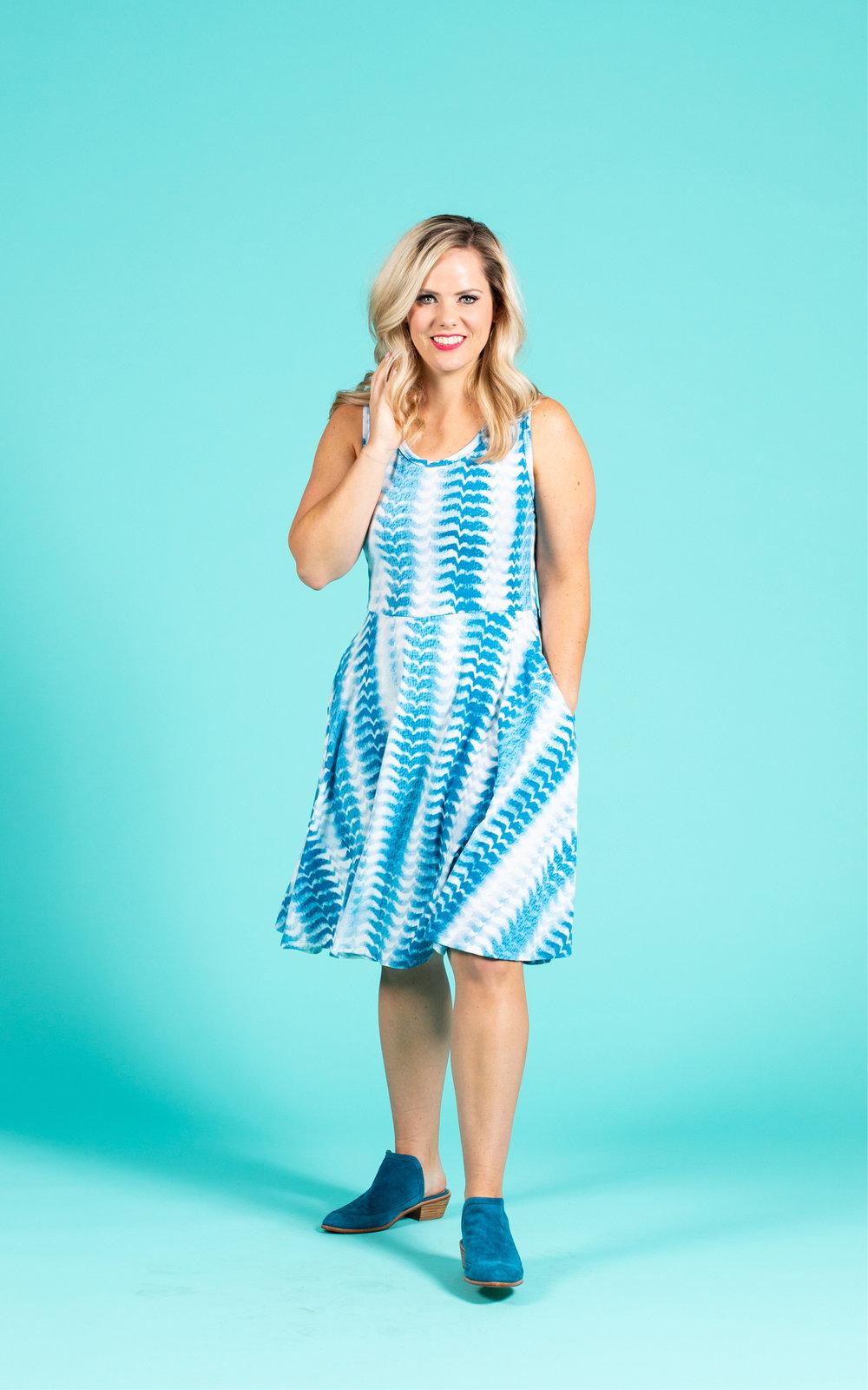 LULAROE-SLEEVELESS-DRESS-NICKI-A LINE SKIRT-BLUE AND WHITE PRINT.jpg