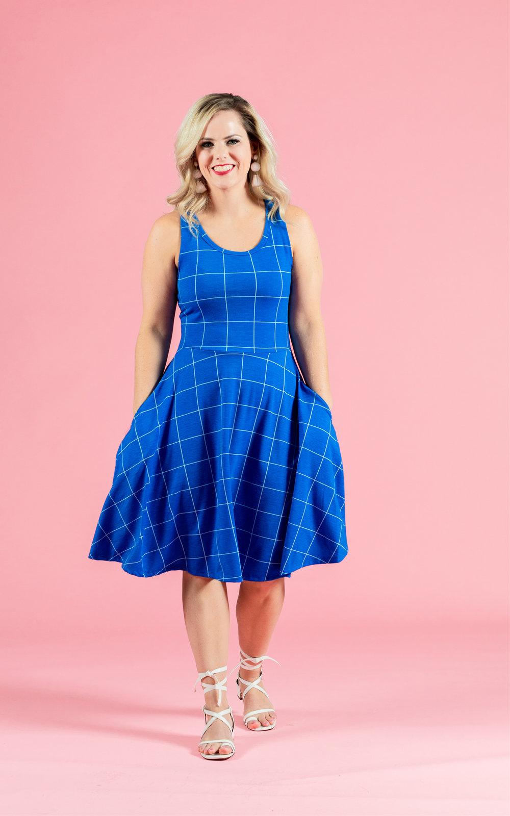 LULAROE-SLEEVELESS-DRESS-NICKI-A LINE SKIRT-BLUE PLAID.jpg