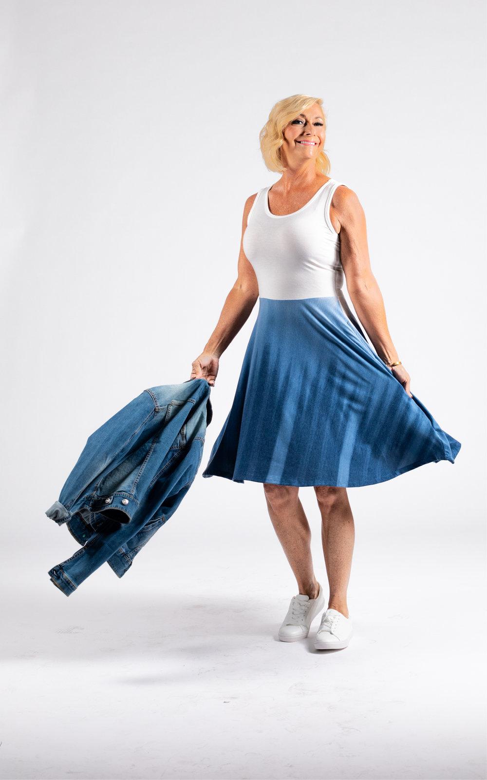 LULAROE-SLEEVELESS-DRESS-NICKI-A LINE SKIRT-TWO TONES-BLUE WHITE.jpg