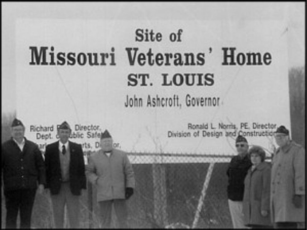 Site of the new Missouri Veterans Home in St. Louis. St. Louis Veterans' Committee Officers from left to right: Arnold Theobald, Rich Valenta, Jess Krug, Orval Gilbert, Gerry Sickles and Charlie Hirt. Photo taken December 31, 1988.