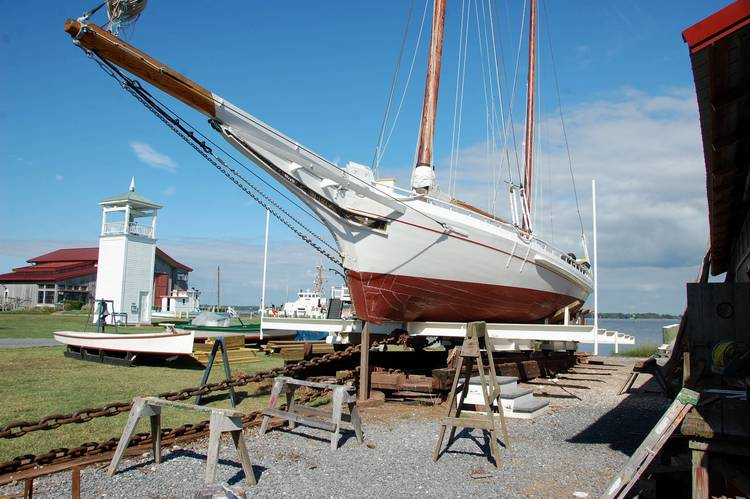 The 1889 log-bottom bugeye  Edna E. Lockwood , shown here, is the queen of the Chesapeake Bay Maritime Museum's fleet of historic Chesapeake boats and will be the focus of a March 11 public forum when CBMM convenes a panel of maritime preservation experts to discuss  Edna's  planned restoration. Recognized as the last working oyster boat of her kind,  Edna E. Lockwood  was declared a National Historic Landmark in 1994. The March 11 program runs from 9:00 to 12:00 noon in the museum's Van Lennep Auditorium, and is free and open to the public, with limited seating and advanced registration required. More photos of the bugeye are at  bit.ly/ednarestorationphotos .