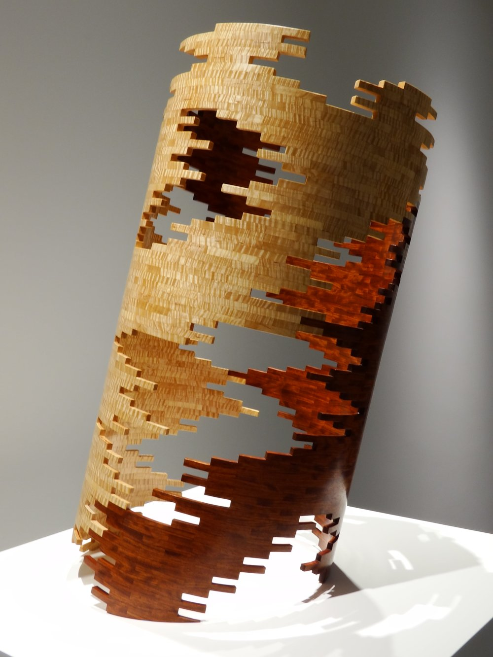 """Tower 10,  Panamanian Cocobolo & American Tiger Maple, 28""""H x 19""""D"""