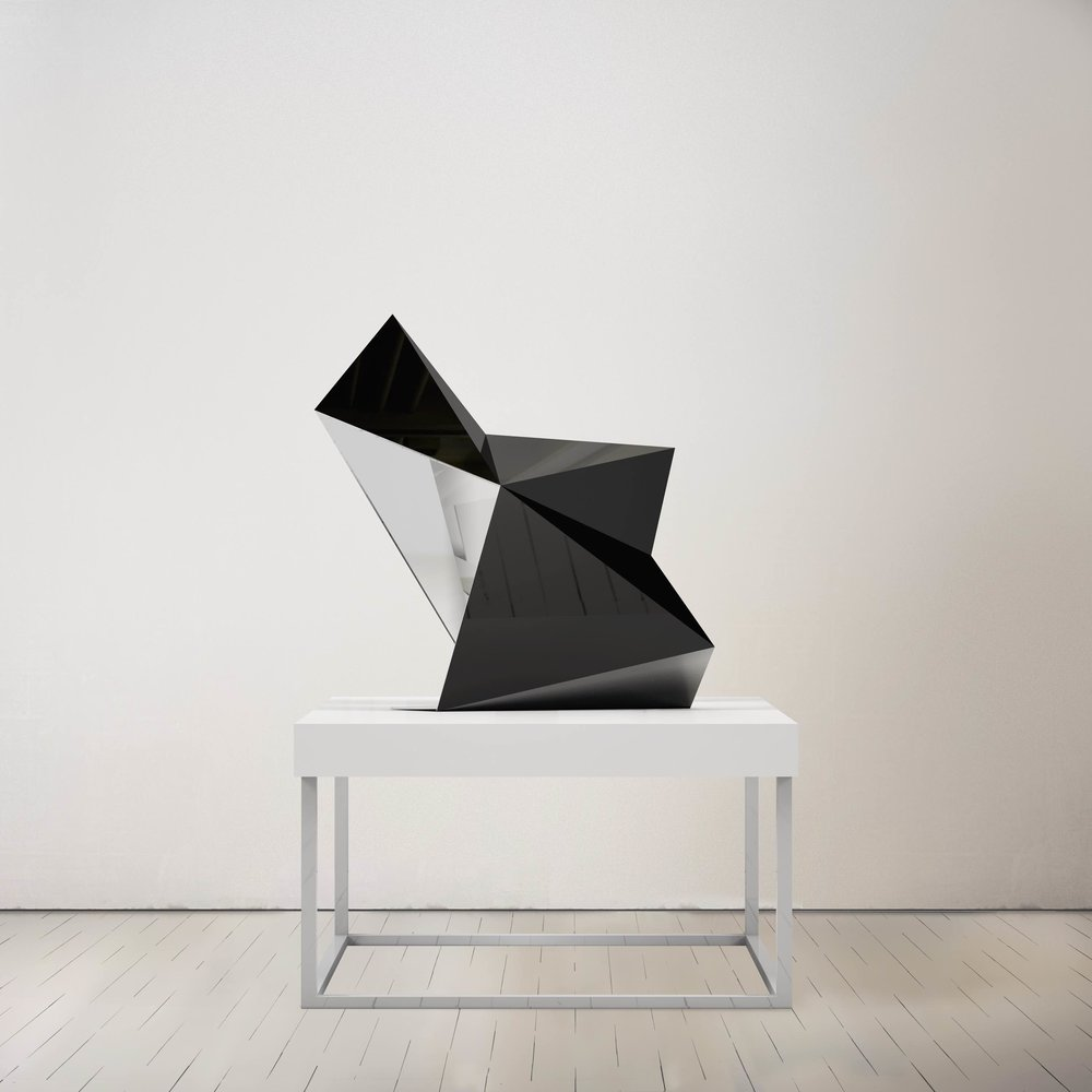 "Dark Shooting Star,  Smoke Mirror Polished Stainless Steel, 34"" x 30"" x 15"""