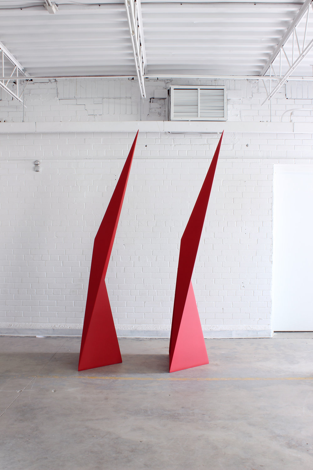 "Rockets to Mars,  Heat Baked Painted Stainless Steel, 96"" × 36"" × 24"", Edition 1/3"