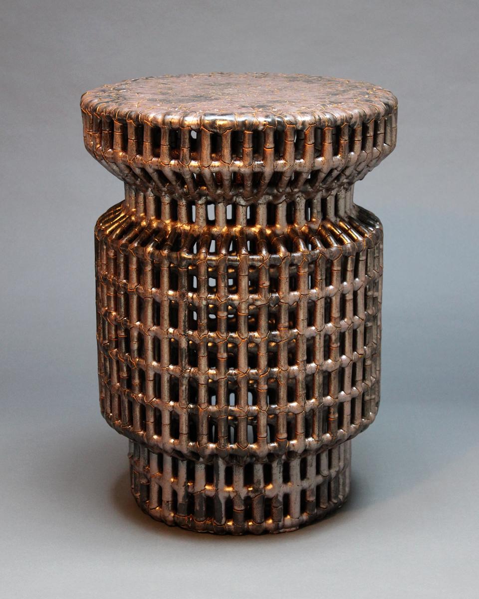 "Kai Table,  Ceramic (Cmesh) w/ Metallic Copper Finish, 16"" Dia. x 22""H"