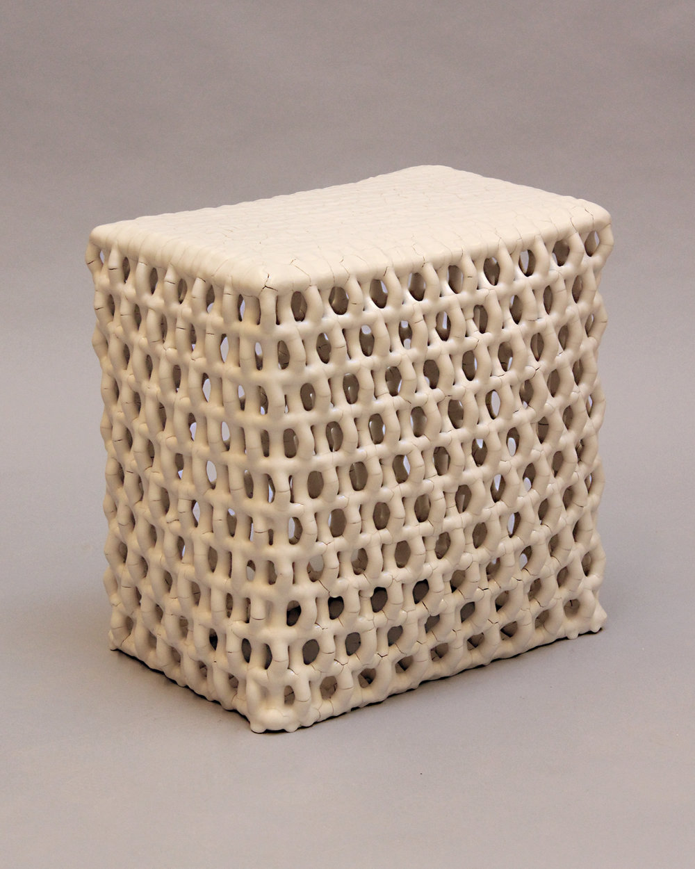 "Rhombus Table,  Ceramic and Metal , 12""D x 18""W x 20""H"