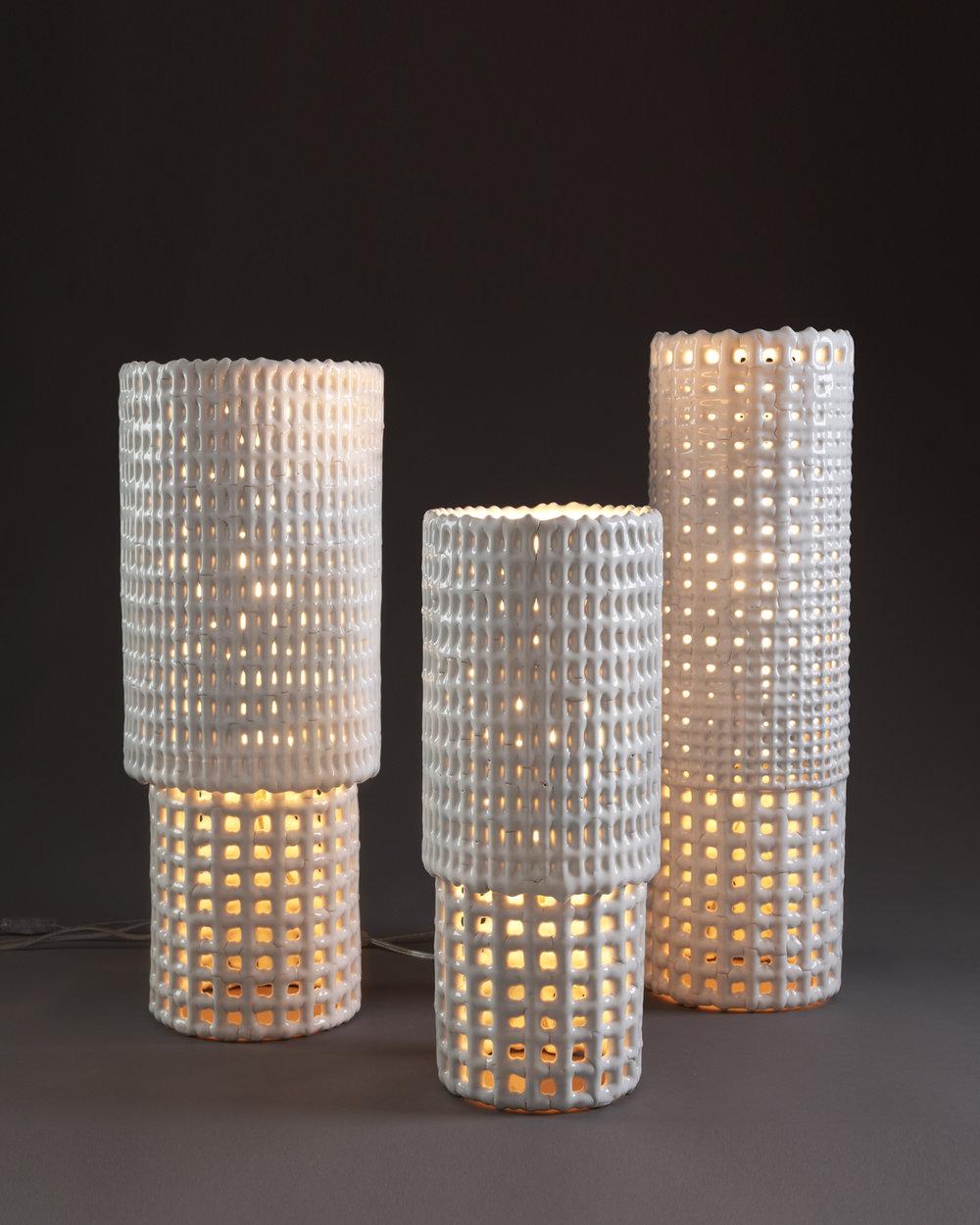 "Peristyle Lamp Series,  Ceramic and Metal, Various Sizes, 8""D x 21-24""H"