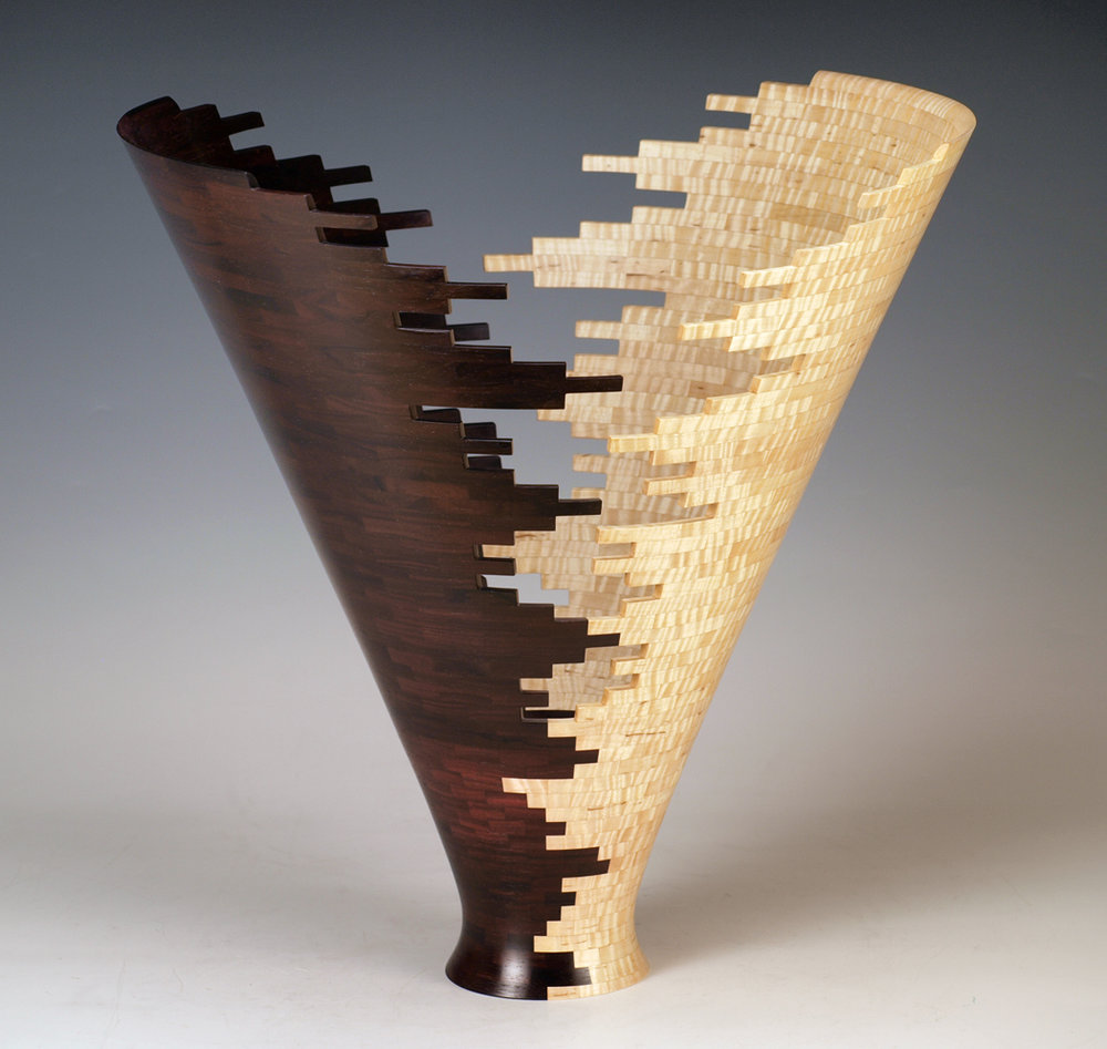 """Dancing Conic 2,  Madagascar Rosewood & American Tiger Maple, 19""""H x 18""""D"""