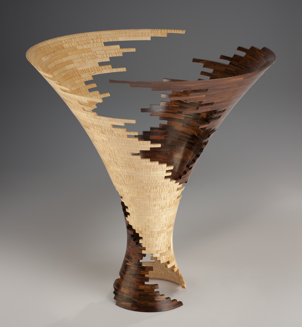 """Spiral Impact 3,  Mexican Cocobolo & American Tiger Maple, 24""""H 24""""D, Photo Robert Reck"""