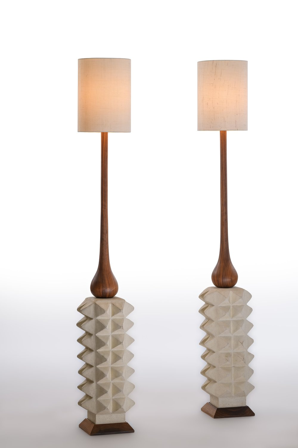 """Apex Lamps (Set of 2) 2018,  Collaboration between Shizue Imai and Chad Jensen. Hand-Turned Walnut, Glazed Stoneware, Dimmer Switch Included, 57"""" x 8.5"""" x 8.5"""" ea. / Unique"""