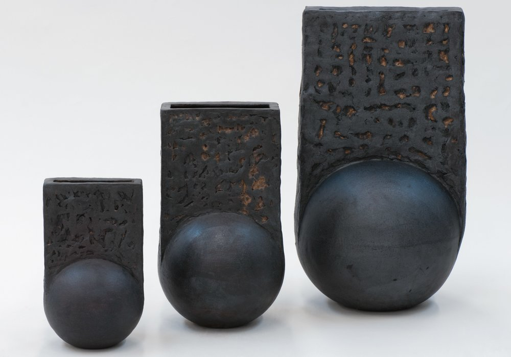 "Black Moon Vessel (various sizes),  Hand-built Stoneware vessel , 40"" × 27"" × 33"""