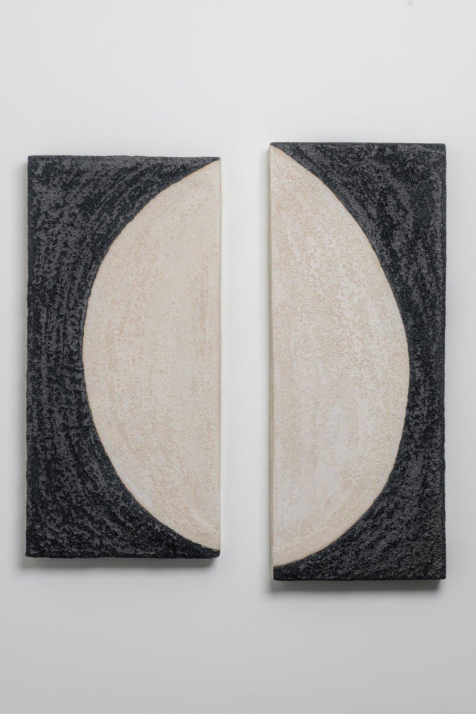 """Black and White Half Moon I & II,    Glazed Ceramic Stoneware, 37 x 14 x 5"""", 33 x 17 x 3"""""""
