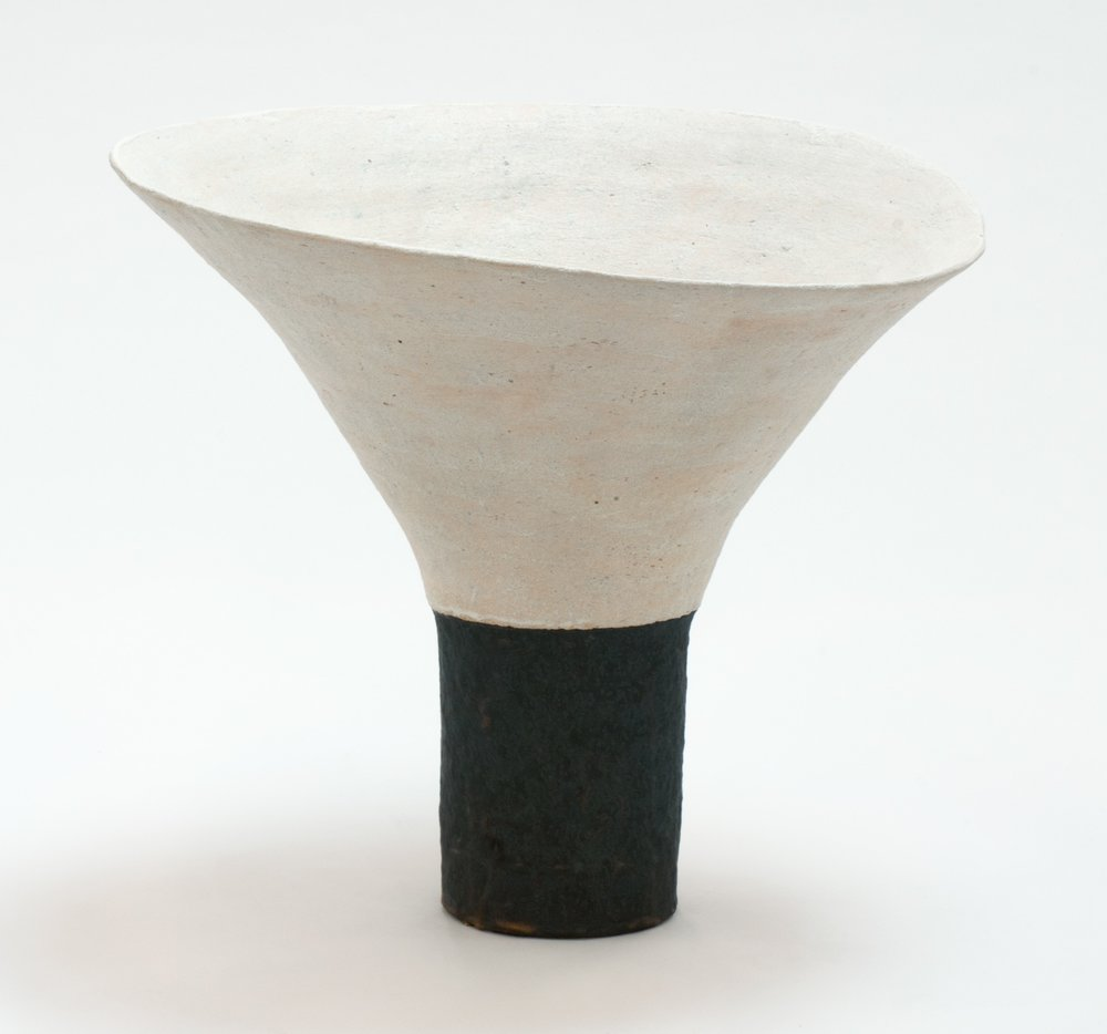 Trumpet White and Black,    Glazed Ceramic Stoneware